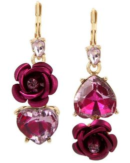 Two-tone Pink Crystal Heart & Flower Mismatch Earrings
