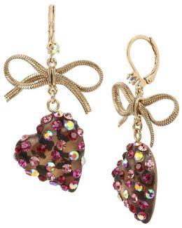Bow & Leopard Heart Drop Earrings
