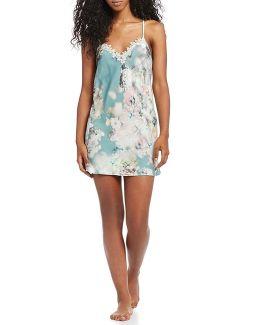Kaylee Floral Charmeuse & Metallic Lace Chemise