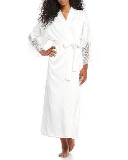 Genevive Charmeuse & Lace Wrap Robe