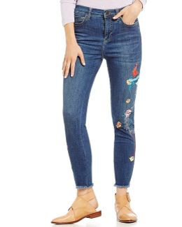 Embroidered Bird Frayed Hem Jeans