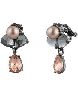 Queen Of Gems Cluster Clip-on Drop Earrings