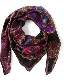 Lena Paisley Square Silk Scarf