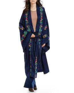 Floral Embroidered Long Kimono