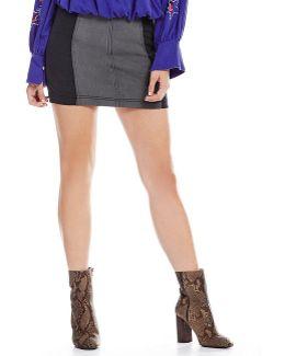 Modern Femme Colorblock Mini Denim Skirt