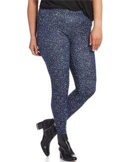 Plus Tweed Print Stretch Knit Twill Leggings