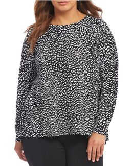 Plus Cut-away Back Cheetah Print Sweater With Solid Georgette Underlayer