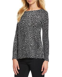 Cut-away Back Cheetah Print Sweater With Solid Georgette Underlayer