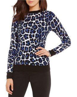 Leopard Print Fine Gauge Knit Sweater