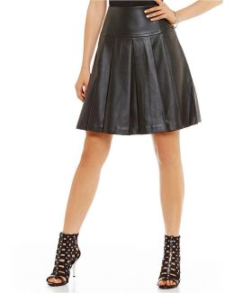 Faux Leather Pleated A-line Skirt