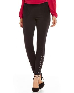Grommet Laced Skinny Ankle Ponte Knit Pants