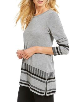 Border Stripe Asymmetric Hem Fine Gauge Sweater Knit Tunic