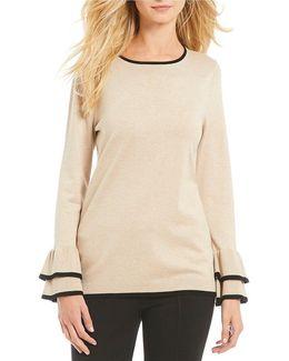 Long Sleeve Double Ruffle Cuff Fine Gauge Knit Sweater