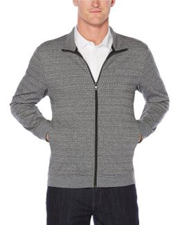 Big & Tall Pattern Jacquard Full-zip Knit Jacket