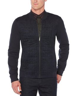 Quilted Front Knit Full-zip Shirt