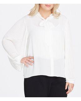 Plus Tie-neck Long-sleeve Blouse