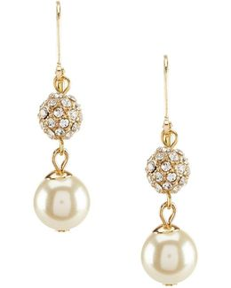 Faux-pearl & Fireball Drop Earrings