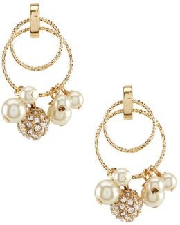 Shaky Faux-pearl & Fireball Hoop Drop Earrings