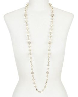 Faux-pearl & Fireball Long Necklace