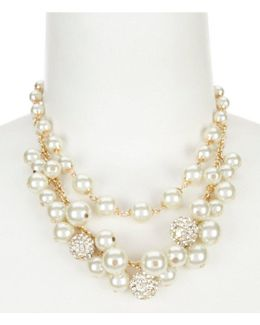 Shaky Faux-pearl & Fireball Multi-strand Frontal Necklace
