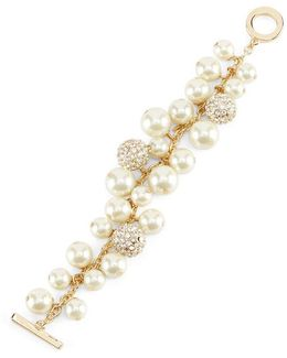 Shaky Faux-pearl & Fireball Line Bracelet
