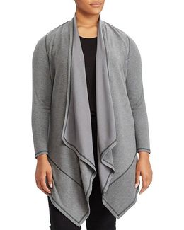 Plus Draped Open-front Cardigan