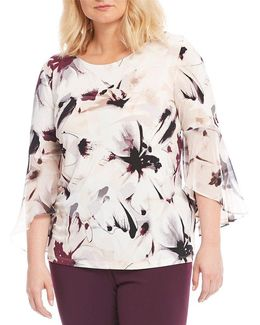 Plus Floral Print Ruffle Sleeve Top