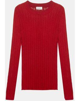Sheer Stripe Crew Neck Pullover Sweater