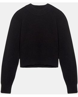 Cropped Ribbed Pullover Sweater