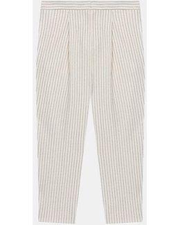 Pinstripe Cropped Wool Pant