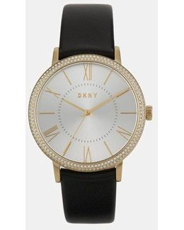 Willoughby 38mm Gold-tone Stainless Steel And Black Leather Watch With Glitz
