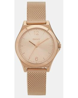 Parsons Stainless Steel Rose Gold-tone Mesh Watch