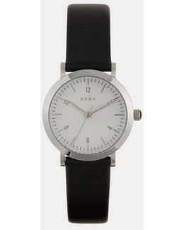 Minetta Black Leather With Stainless Steel Watch