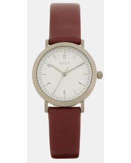 Minetta Burgundy Leather With Grey Ip Watch