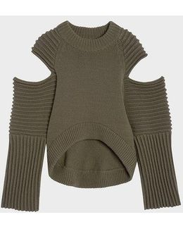 Runway Crew Neck Pullover With Cold Shoulder