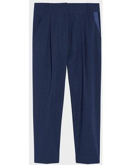 Pure Relaxed Front Pleat Tailored Cropped Pant