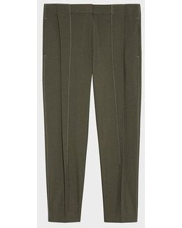 Pleat Front Cropped Pant With Contrast Stitching