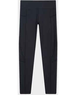 Full Length Mid-rise Legging With Mesh Piecing