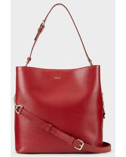 Sutton Textured Leather Large Bucket Bag