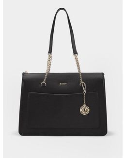 Sutton Textured Leather Top Zip Tote