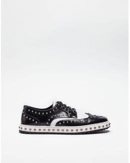 Studded Leather Lace-up Shoes