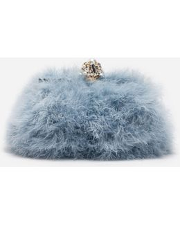 Vanda Feather Clutch With Bejeweled Appliqué