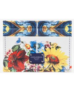 Printed Dauphine Leather Card Holder