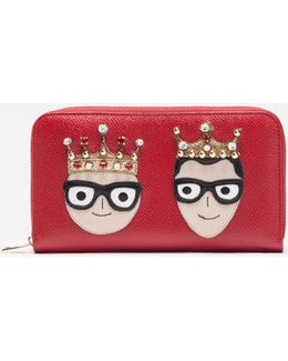 Zip-around Leather Wallet With Patches Of The Designers