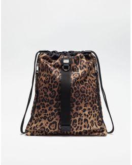 Printed Nylon Backpack With Drawstring