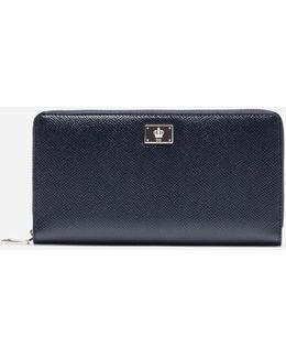 Zip-around Wallet In Dauphine Leather