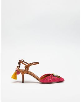 Pump Slingback In Rafia With Applications