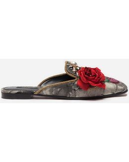 Jacquard Slippers With Appliqué Details