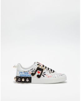 Sneakers In Printed Leather With Applications