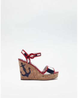 Wedge Sandals In Cork With Patch